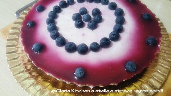 Cheesecake ai Mirtilli senza Cottura di Gloria KitchenUSA2