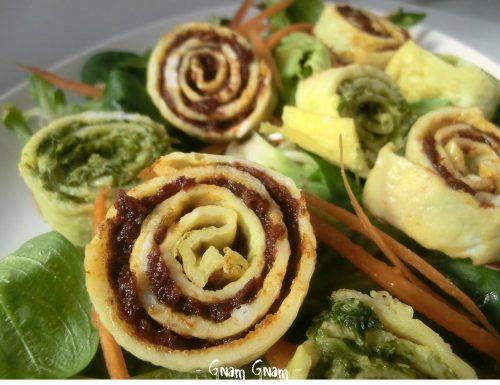 Girelle di frittata con pomodori secchi e salsa verde | Ricetta