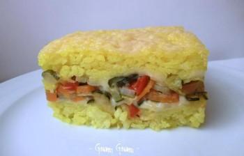 timballo di riso allo zafferano e verdure