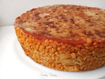 timballo di grano al forno con pomodoro e mozzarella