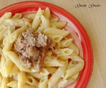 pasta con pesto di castagne e salsiccia