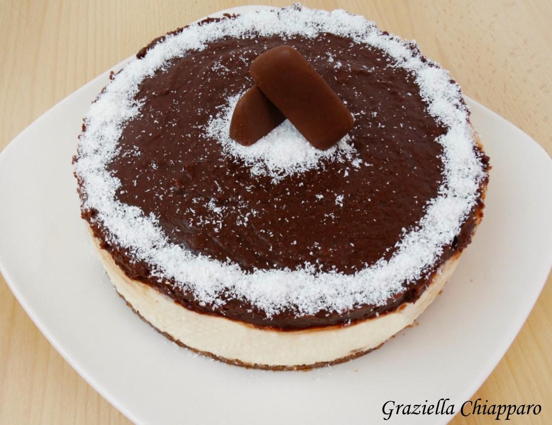Cheesecake cocco e nutella | Ricetta senza cottura