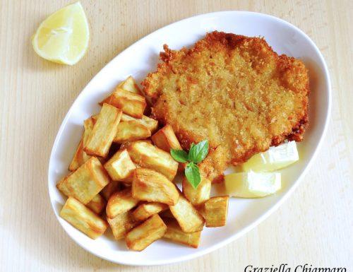 Cotolette croccanti senza uova con patate dolci fritte