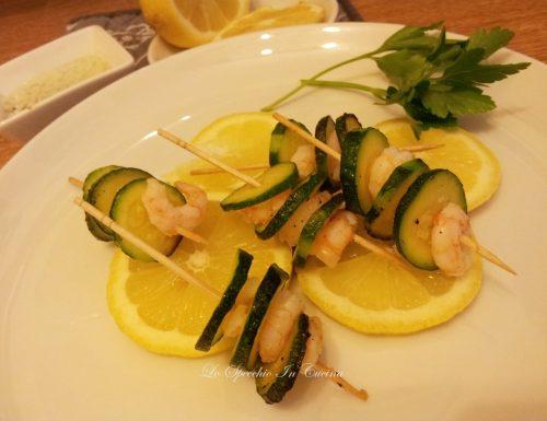 Spiedini gamberetti e zucchine , ricetta secondi con pesce