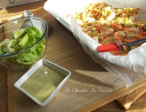 Gamberoni gratinati con salsa al basilico , ricetta secondi di pesce