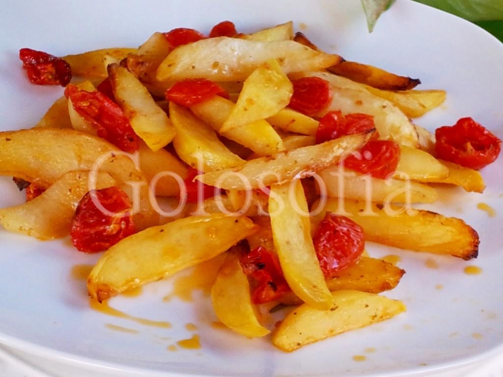 Patate e pomodori pachino al forno-ricetta contorni-golosofia