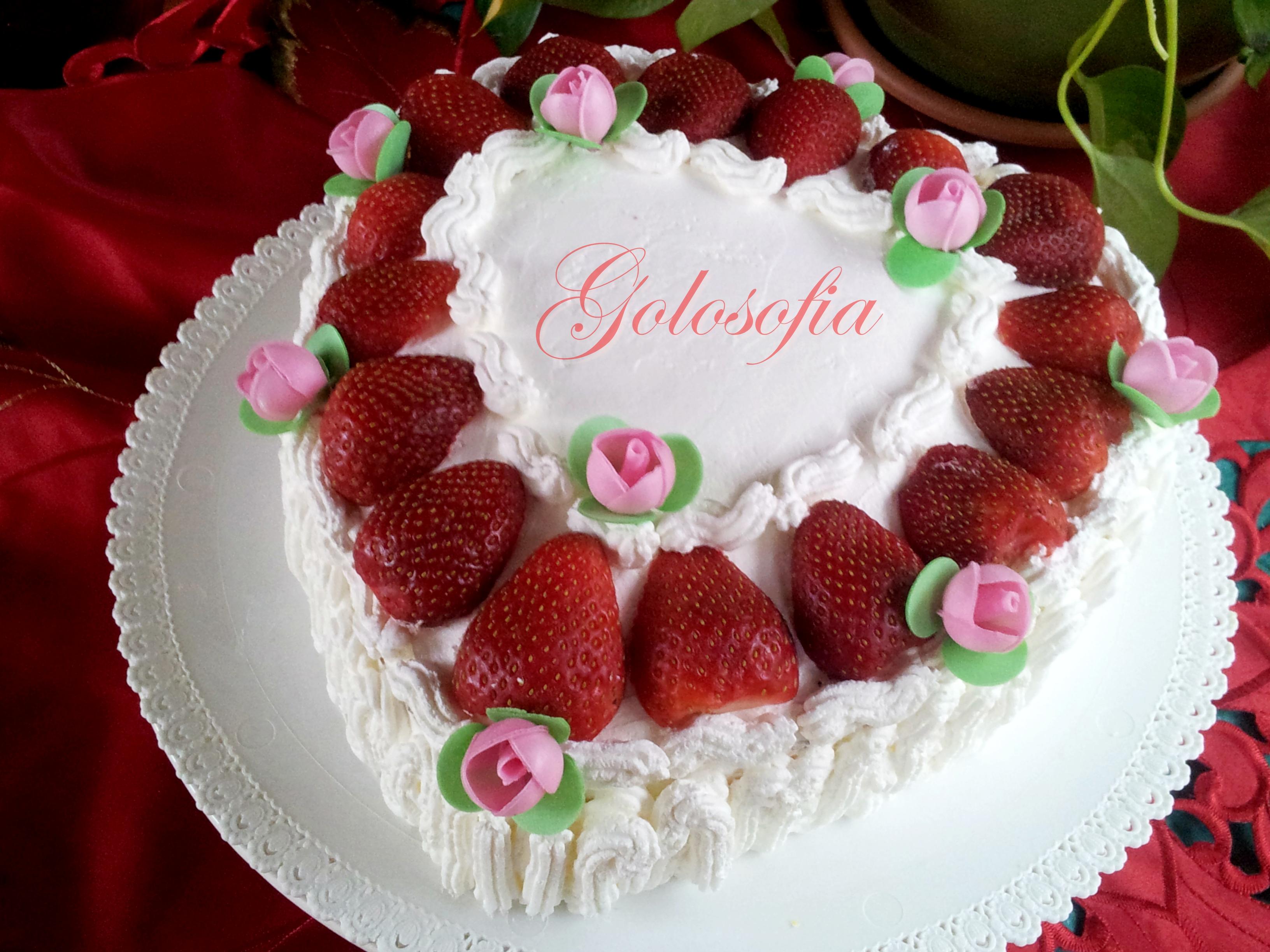 Torta san valentino o di compleanno con crema al limone fragole e panna ricetta fresca e - Differenza panna da cucina e panna fresca ...