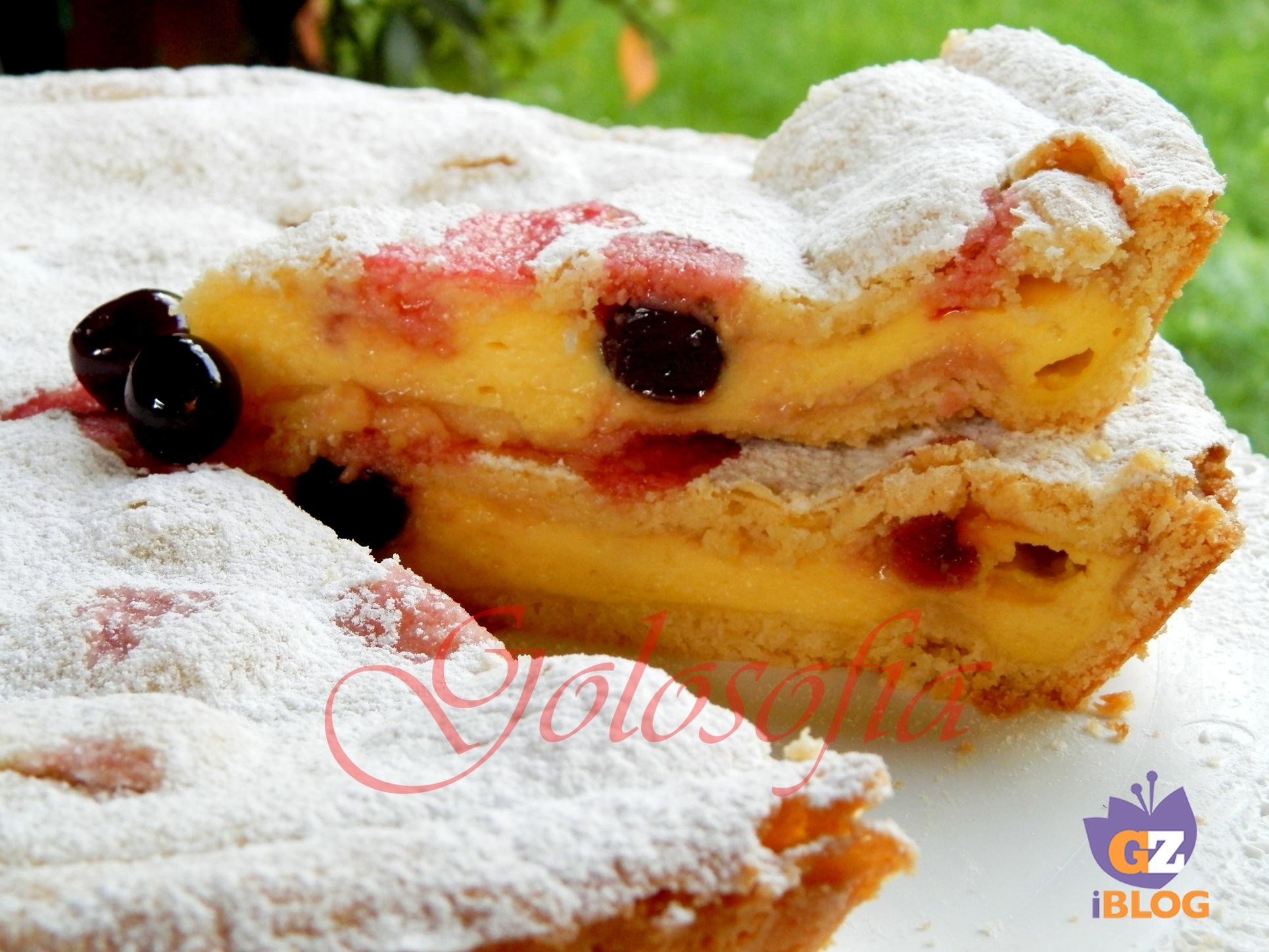 Torta con crema pasticcera e amarene ricetta squisita for Ricette dolci