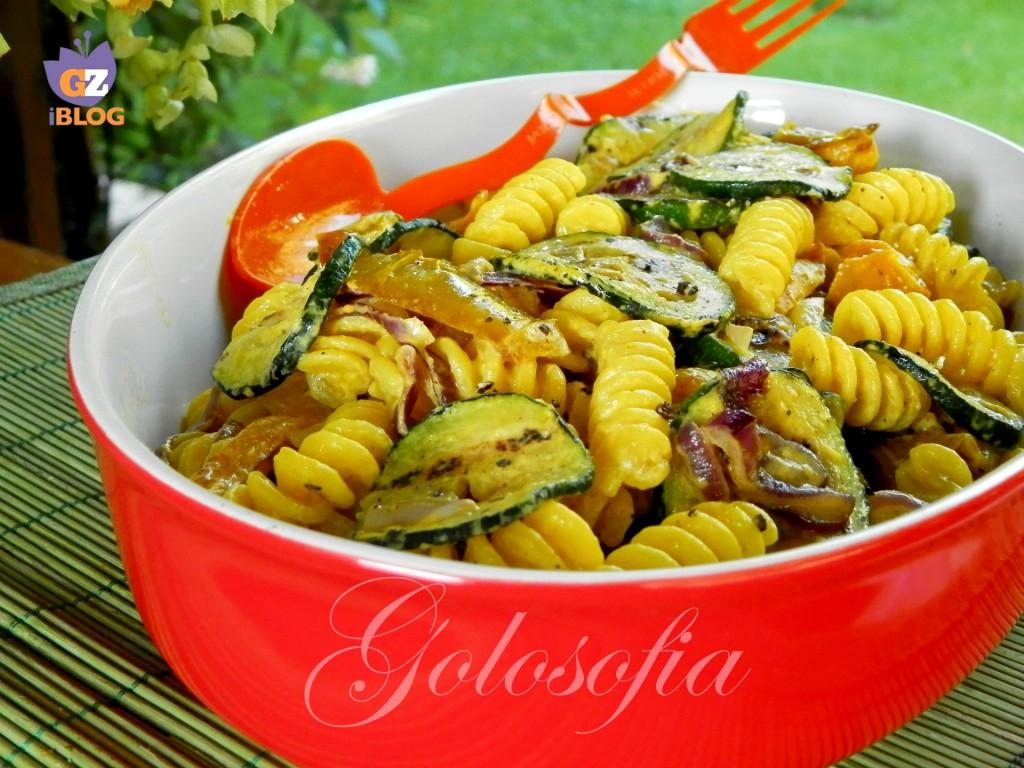Insalata di pasta con verdure grgliate e zafferano-ricetta primi piatti-golosofia