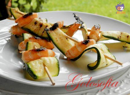 Spiedini di mazzancolle e zucchine, ricetta light