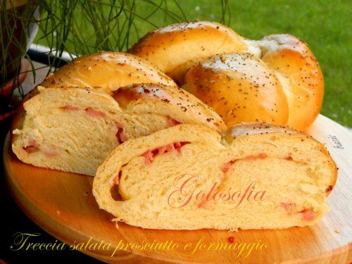 Treccia salata prosciutto e formaggio, ricetta lievitati