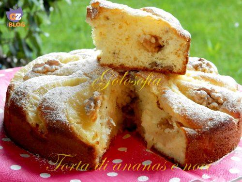 Torta con ananas e noci, ricetta soffice con yogurt