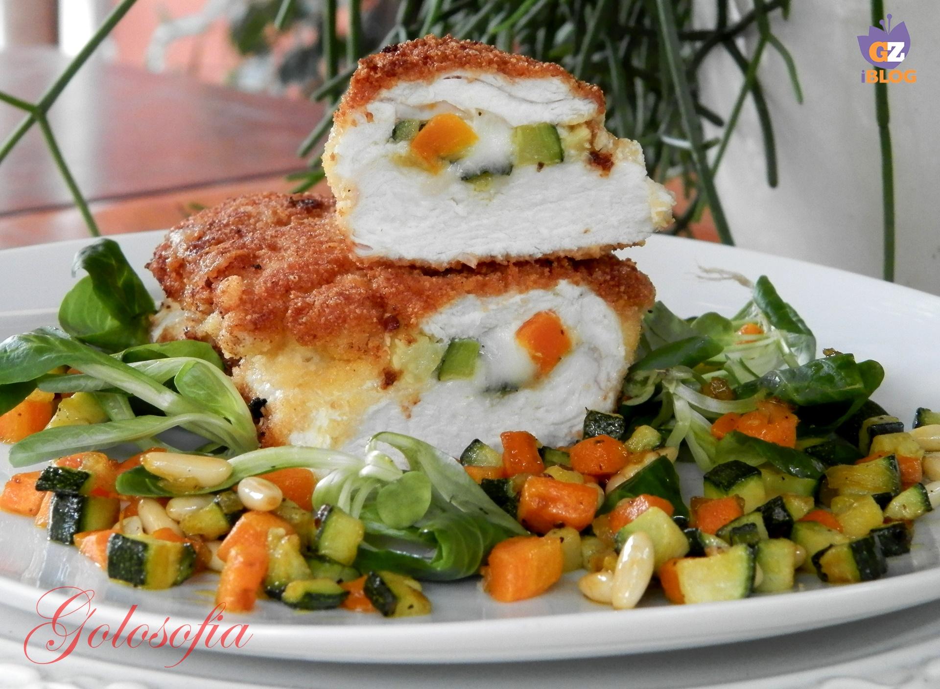 Suprema di pollo ripiena di verdure e formaggio-ricetta golosofia