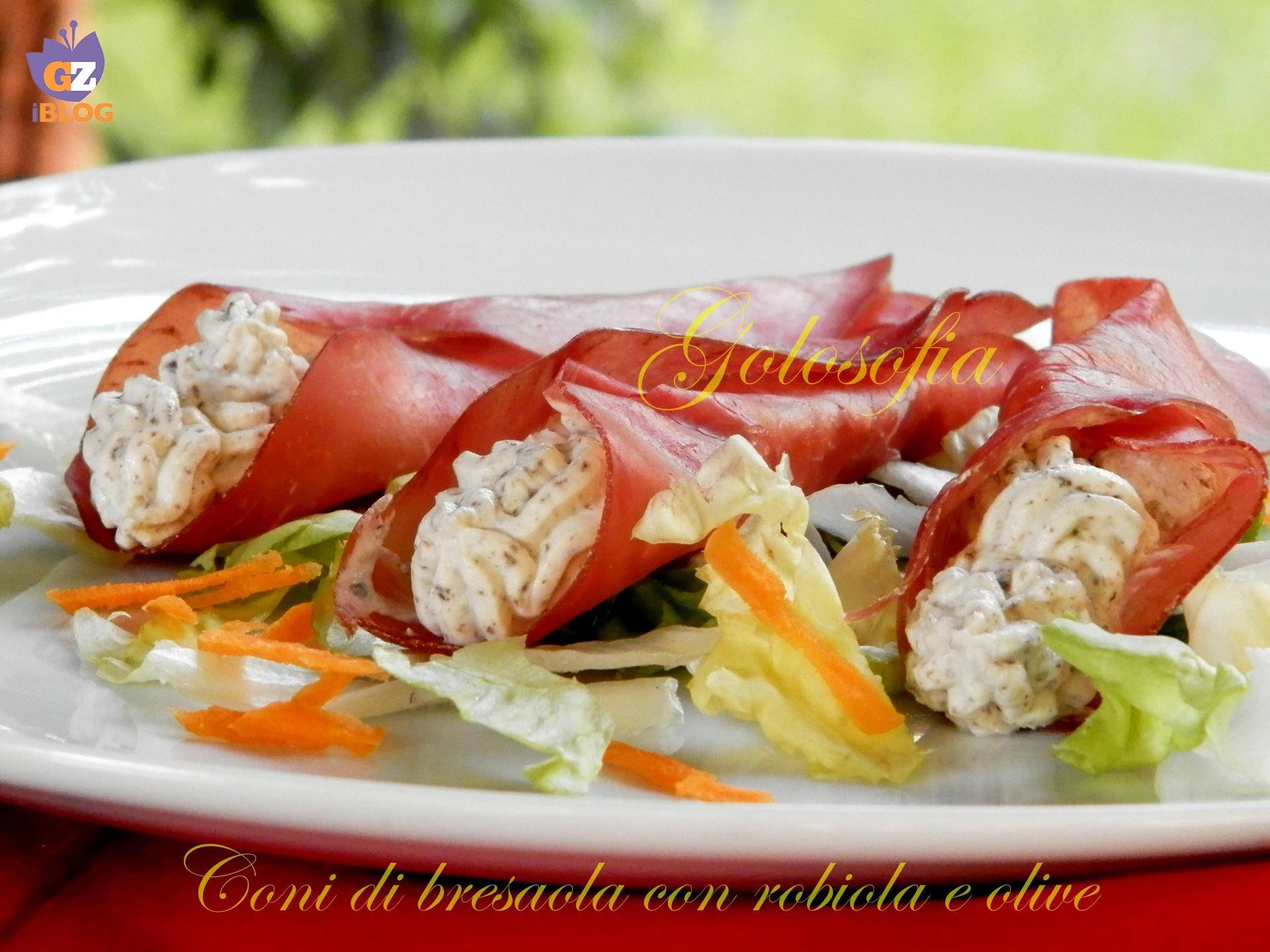 Coni di bresaola con robiola e olive-ricetta antipasti-golosofia