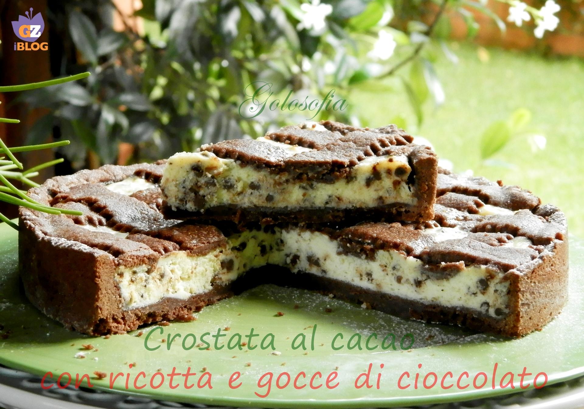 Crostata al cacao con ricotta e gocce di cioccolato, ricetta golosissima!