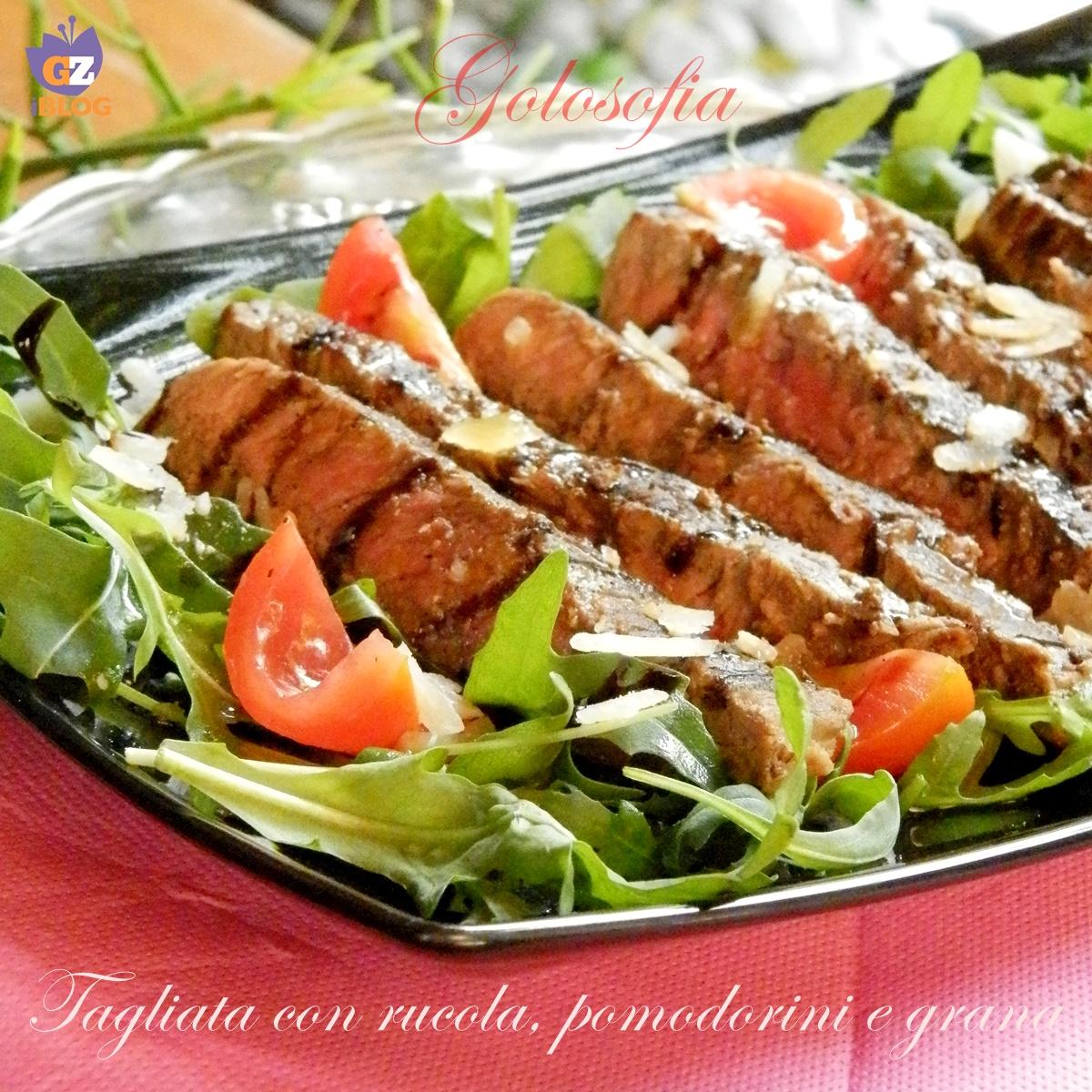 Tagliata con rucola pomodorini e grana ricetta veloce for Cucinare tagliata