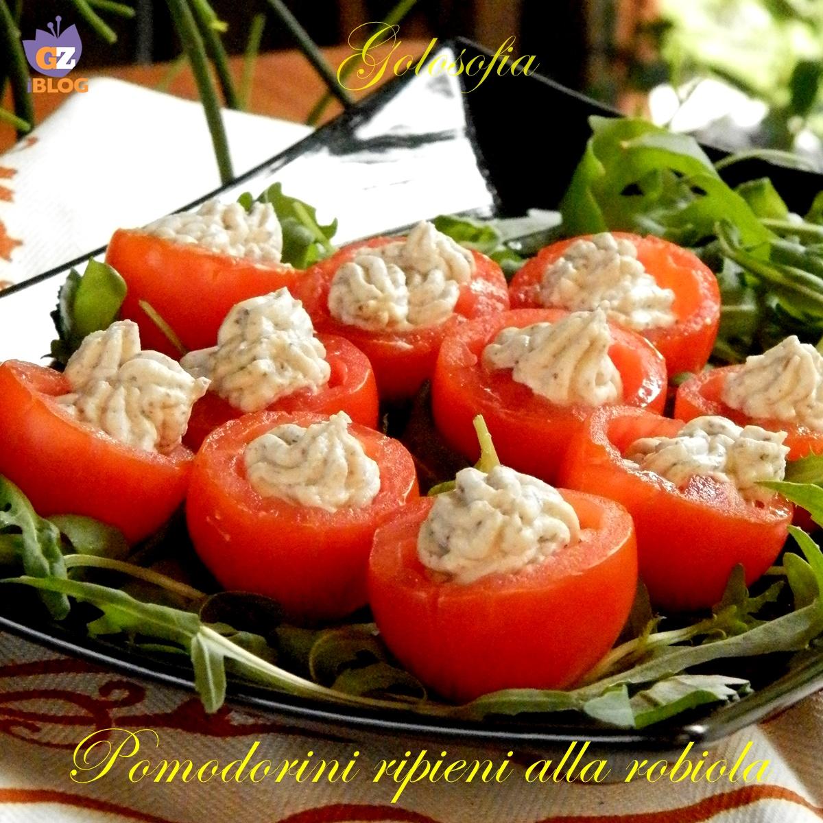 Pomodorini ripieni alla robiola-ricetta antipasti-golosofia