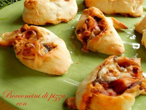 Bocconcini di pizza con funghi e salsiccia, ricetta veloce antipasti
