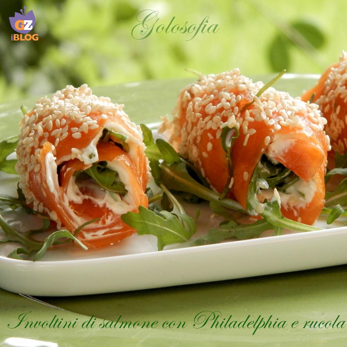 Involtini di salmone con philadelphia e rucola-ricetta antipasti-golosofia