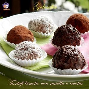 Tartufi biscotto con nutella e ricotta-ricetta dolci-golosofia