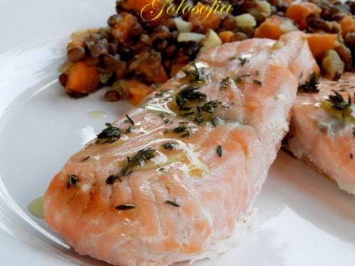 Filetti di salmone e lenticchie, ricetta Capodanno