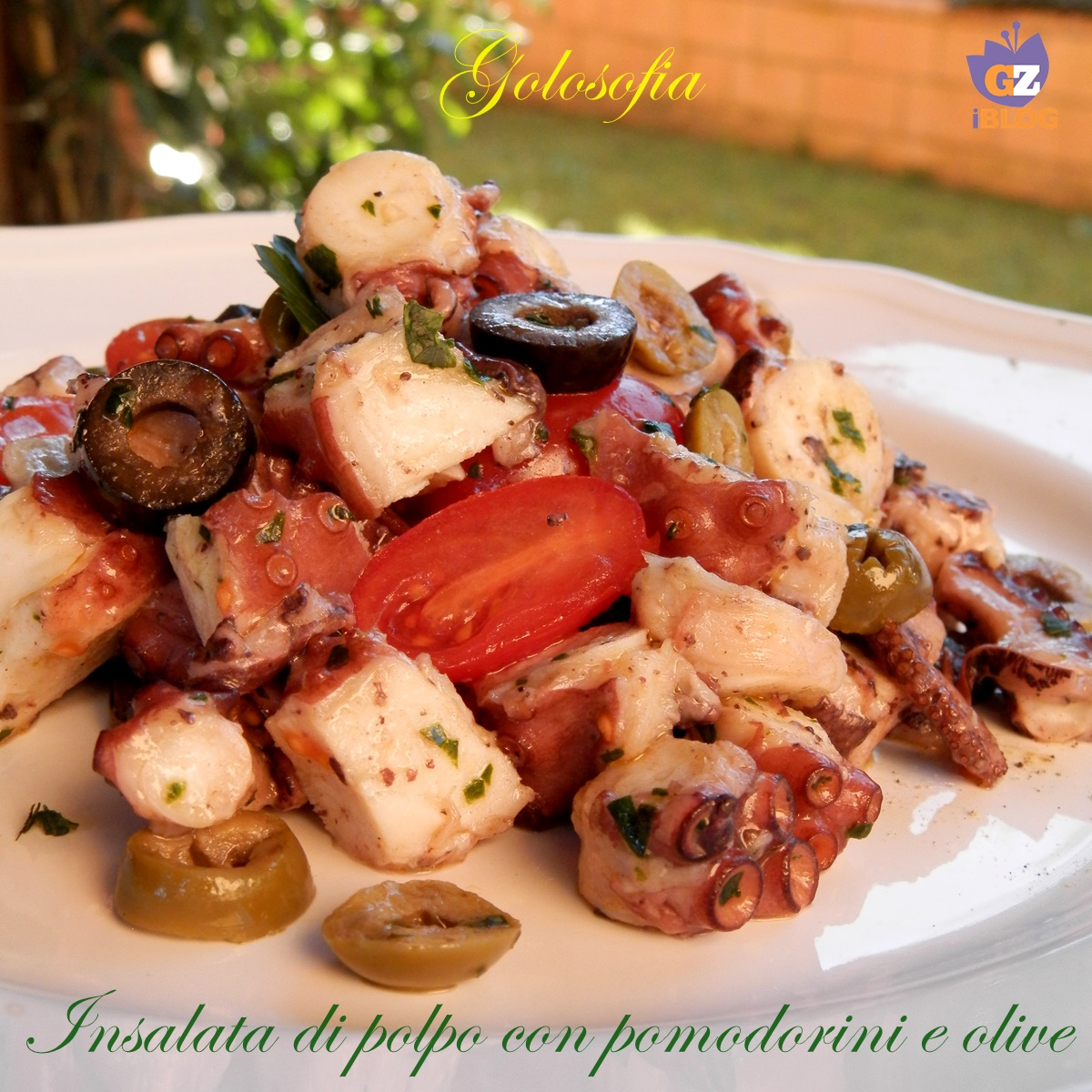 Insalata di polpo con pomodorini e olive-ricetta secondi-golosofia