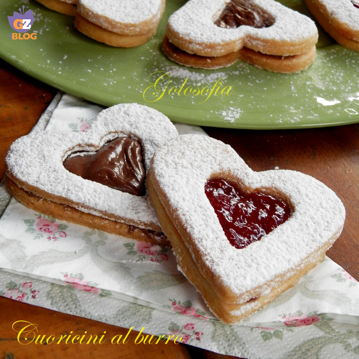 Cuoricini al burr-ricetta biscotti-golosofia