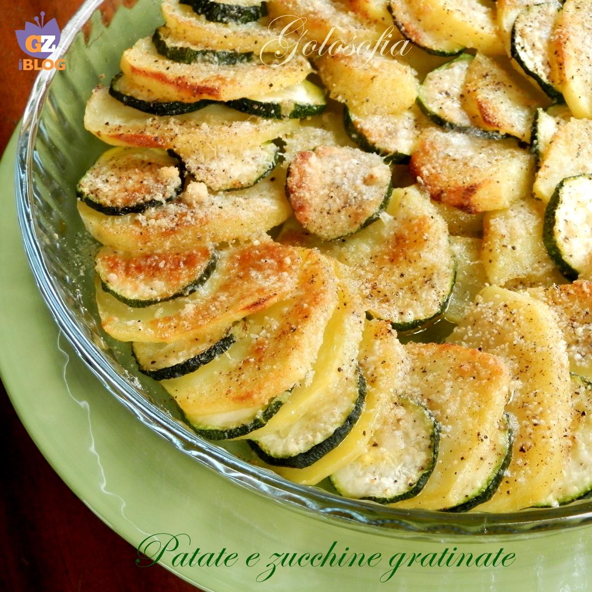 Patate e zucchine gratinate,ricetta contorni,golosofia