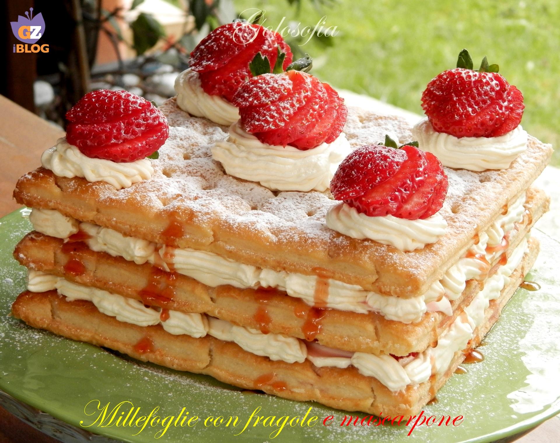 Millefoglie con fragole e mascarpone ricetta golosissima for Decorazione torte millefoglie