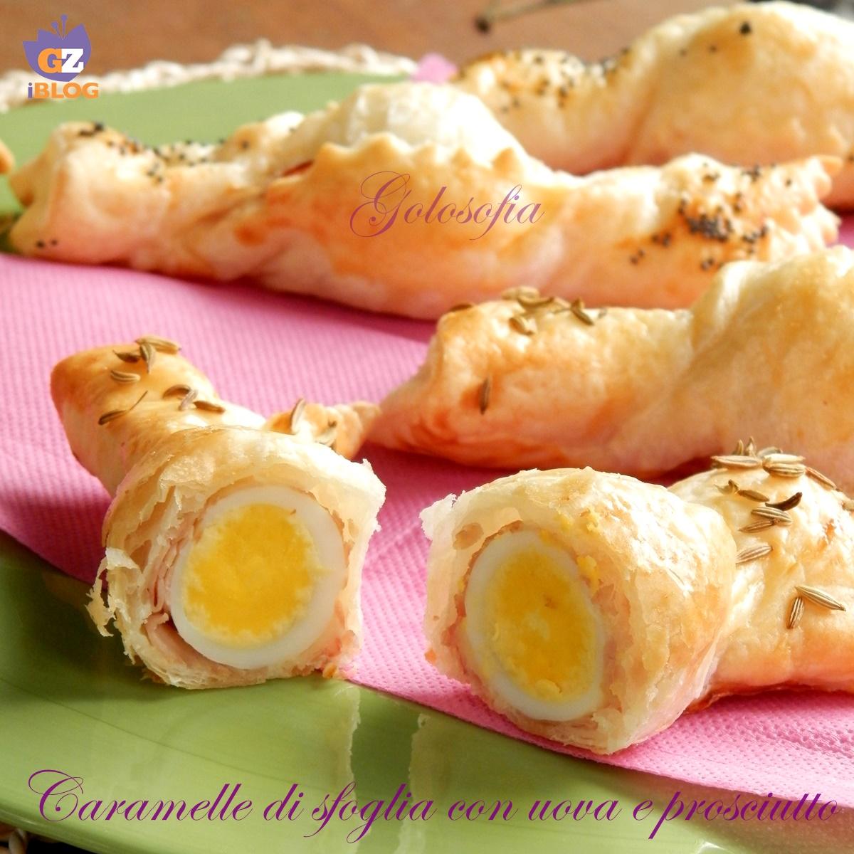 Caramelle di sfoglia con uova e prosciutto, ricetta sfiziosa