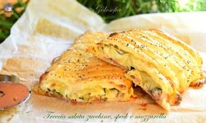 treccia salata zucchine, speck e mozzarella-ricetta antipasti-golosofia