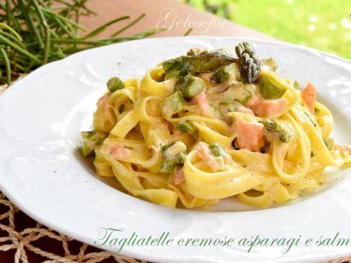 Tagliatelle cremose asparagi e salmone, ricetta buonissima