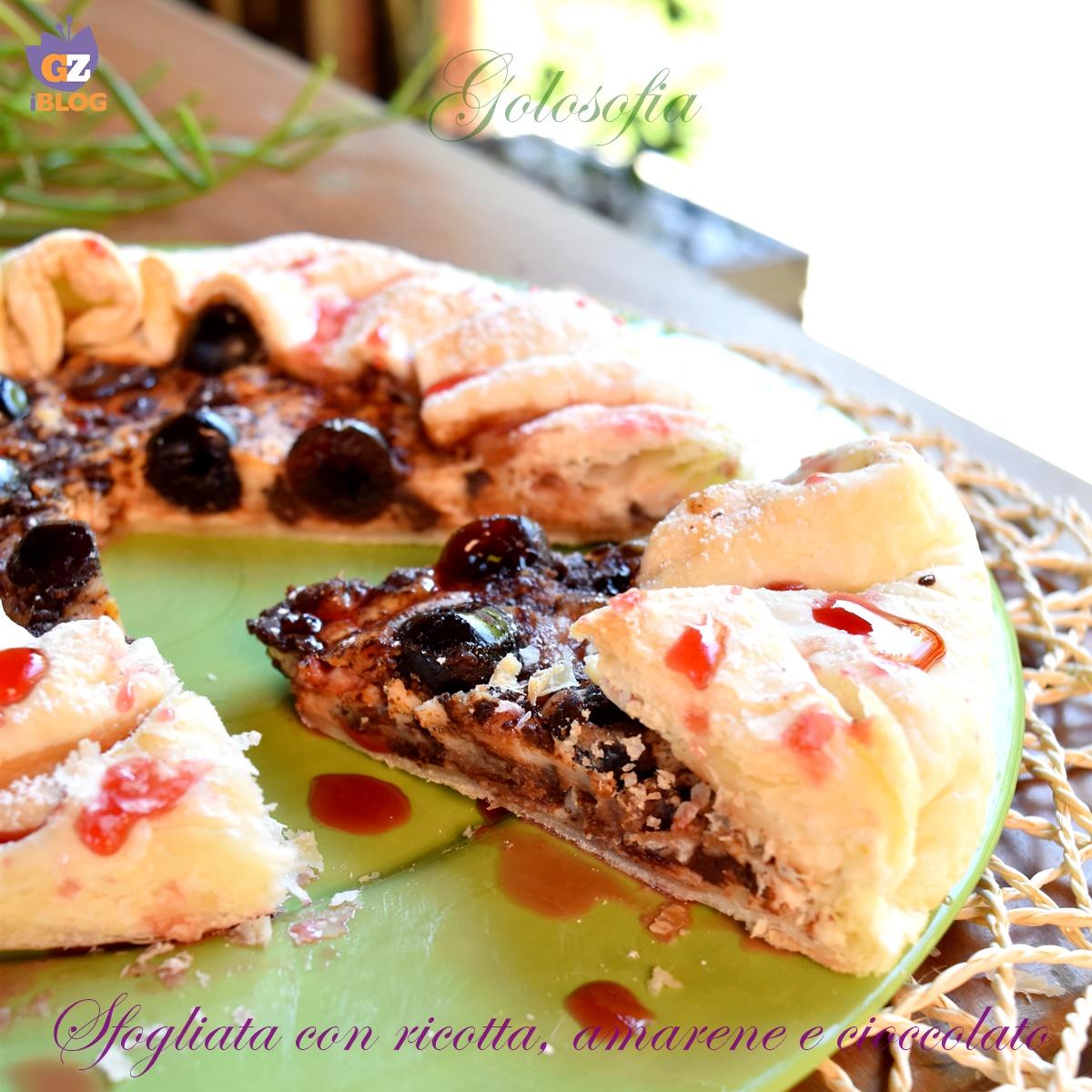 Sfogliata con Ricotta, Amarene e Cioccolato, Ricetta Veloce Golosa
