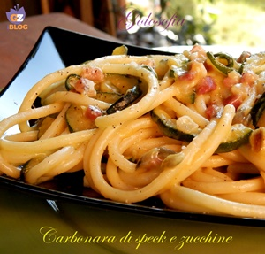 Carbonara di speck e zucchine-ricetta primi-golosofia