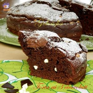 Torta ai 3 cioccolati-ricetta dolci-golosofia
