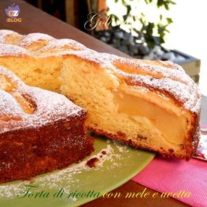 Torta di ricotta con mele e uvetta-ricetta torte-golosofia