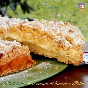 Sbriciolata con crema al limone e ricotta-ricetta torte-golosofia