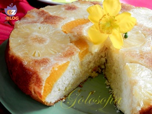 Torta soffice ananas e pesche-ricetta torte-golosofia