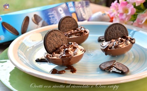 Ovetti con ricotta al cioccolato e oreo crispy-ricetta dolci-golosofia