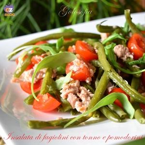Insalata di fagiolini con tonno e pomodorini-ricetta estiva-golosofia