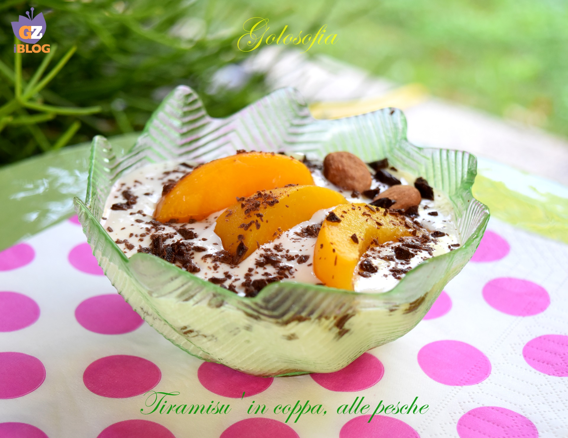 Tiramisu' in coppa, alle pesche-ricetta dolci-golosofia