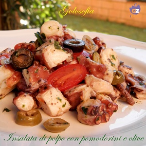 Insalata di polpo con pomodorini e olive-ricetta estiva-golosofia