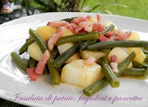 Insalata di patate, fagiolini e pancetta-ricetta contorni-golosofia