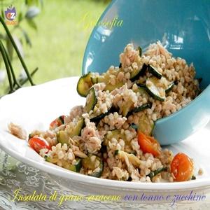 Insalata di grano saraceno con tonno e zucchine-ricetta estiva-golosofia