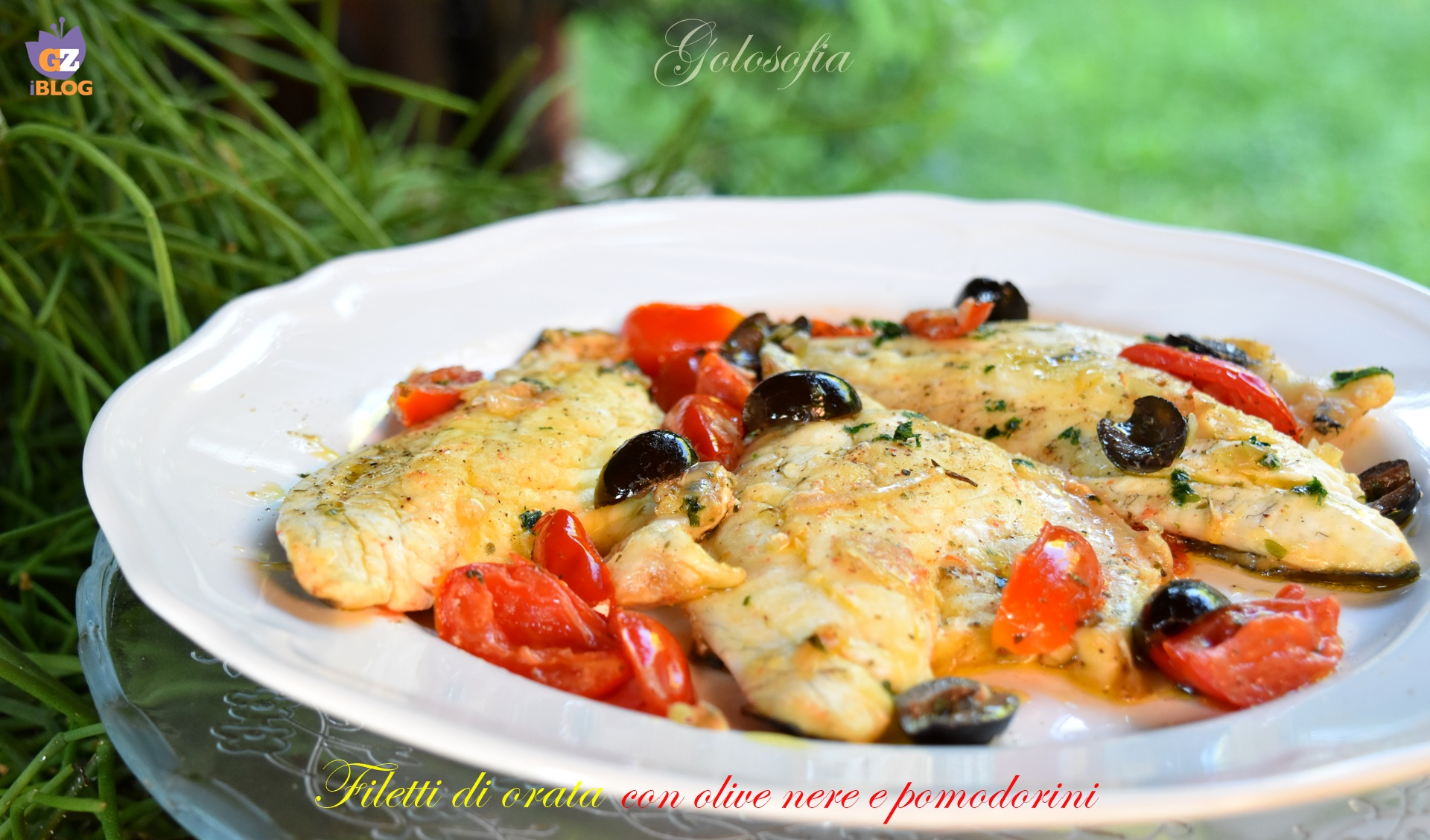 Filetti di orata con olive nere e pomodorini-ricetta secondi-golosofia