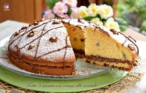 Torta 5 minuti con crema alle nocciole-ricetta torte-golosofia