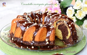 Ciambella variegata al cacao, glassata al cioccolato-ricetta torte-golosofia