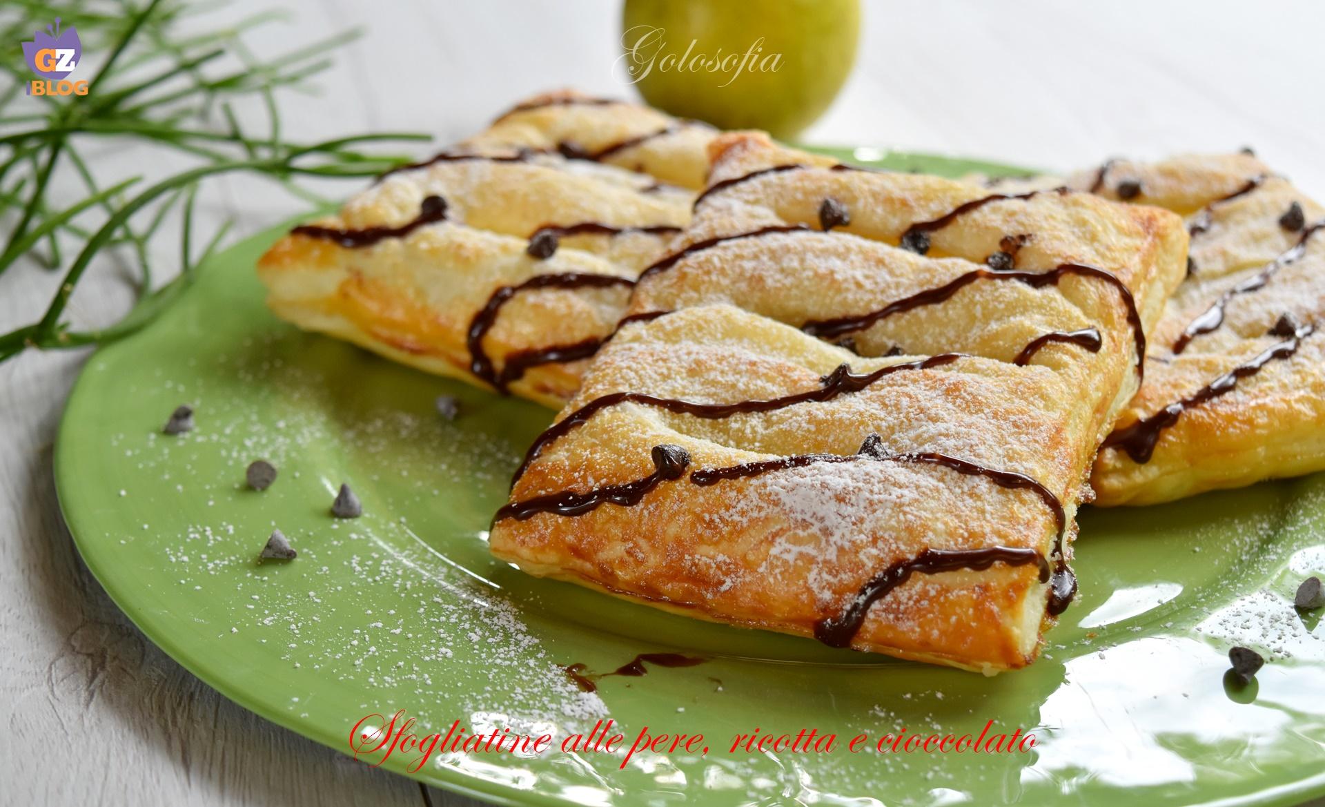 Sfogliatine alle pere, ricotta e cioccolato-ricetta dolci-golosofia