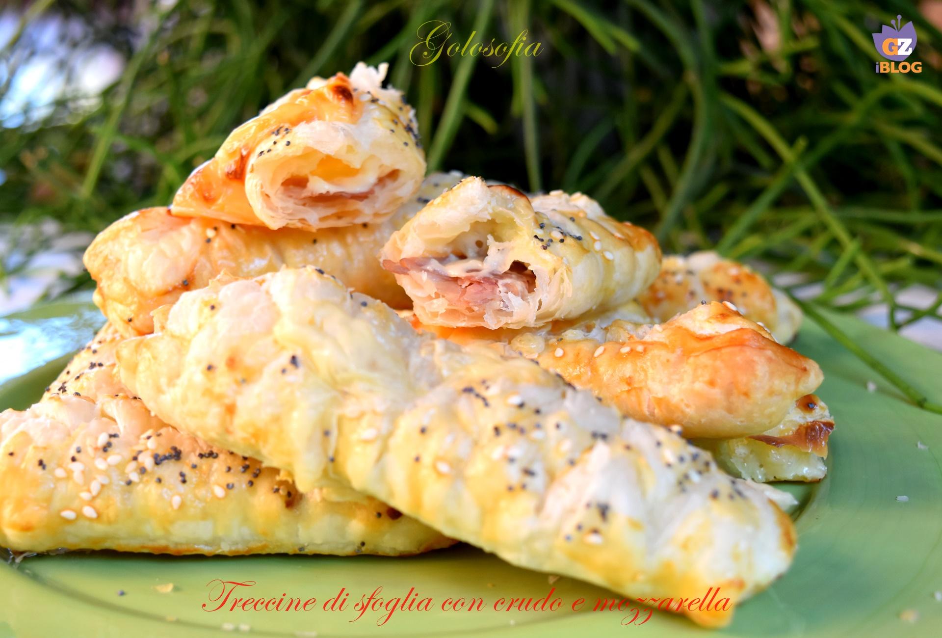 treccine di sfoglia con prosciutto crudo e mozzarella-ricetta antipasti-golosofia