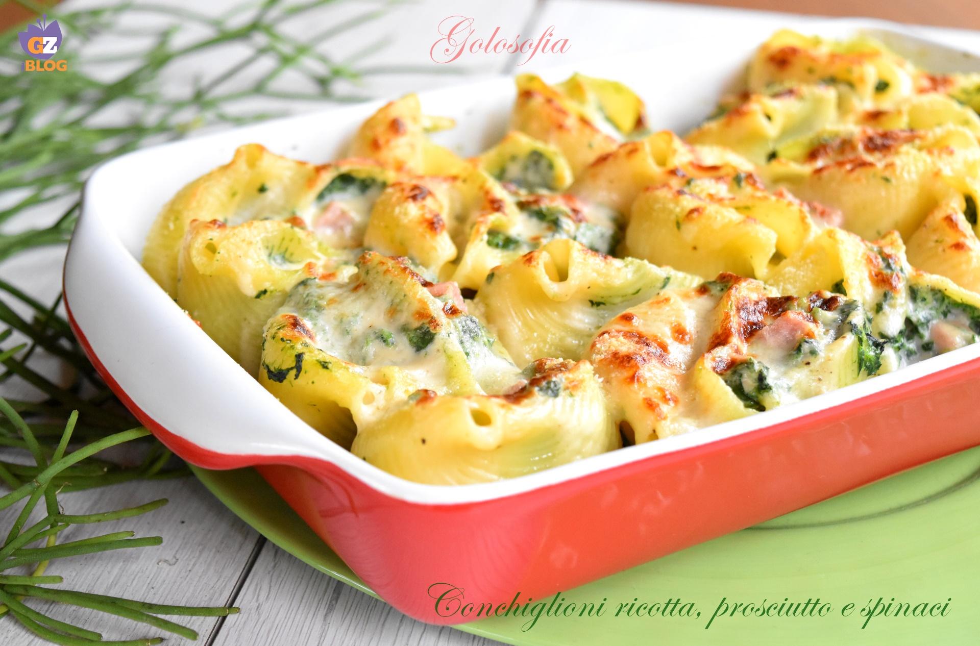 Conchiglioni ricotta, prosciutto e spinaci, ricetta cremosa buonissima